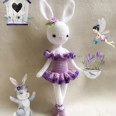 Kikalite crochet pattern Ballerina Bunny Charlotte PDF - 5 pages with many pics Crochet Bunny, Cute Crochet, Crochet Animals, Crochet Dolls, Knit Crochet, Little Girl Toys, Toys For Girls, Crochet Toys Patterns, Stuffed Toys Patterns