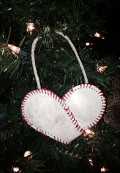Baseball Christmas Ornament...Baseball Heart...Ornament...Sports Decor...