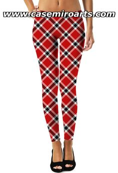 Three color tartan pattern leggings, chequered red, white, black colors plaid classic full length leggings. This All Over Print design is made with high-quality, 100% spun polyester that delivers the look and feel of organic cotton - for more art and design be sure to visit www.casemiroarts.com #leggings #clothing #style #womens item printed by #RageOn at www.rageon.com/a/users/casemiroarts as seen at #society6 or #redbubble - also available at www.casemiroarts.com  This product is hand made and Pattern Leggings, Black Colors, Tartan Pattern, Girls Leggings, Easy Food To Make, Style And Grace, Bjd Dolls, Fun Workouts, Print Design