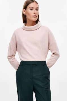 COS image 1 of Oversized roll-neck top in Rose Pink