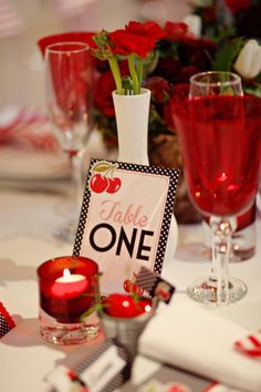 Cherry Motown Table Name or Number American Diner Themed 1950s Red White Black Polka Dot Retro Wedding Stationery by In the Treehouse