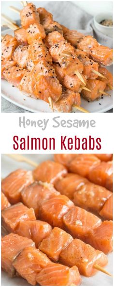 Quick and easy dinner recipe in less than 30 minutes: honey sesame salmon kebabs.