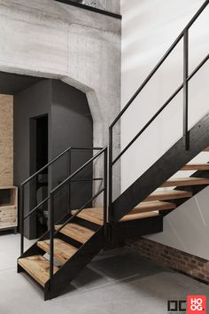 Dirk Cousaert – Design+Craft - Trappen realisatie droxim - Hoog ■ Exclusieve woon- en tuin inspiratie. Texas Homes, New Homes, Outside Stairs, Home Stairs Design, Loft, House Stairs, Spiral Staircase, Entrance Hall, Apartment Design