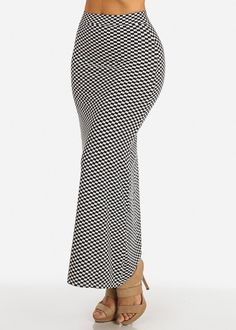 Checkered Print Maxi Skirt