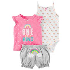 Carter's Baby Girl Graphic Tee, Rainbow Bodysuit & Embroidered Bubble Shorts Set Source by sets clothes Carters Baby Clothes, Carters Baby Boys, Cute Baby Clothes, Babies Clothes, Babies Stuff, Little Girl Fashion, Kids Fashion, Fashion 2018, My Baby Girl
