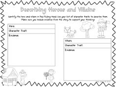 Third Grade Bookworm: Heroes and Villains {FREEBIE!} and Character Traits sheet Library Lessons, Reading Lessons, Teaching Reading, Library Skills, Teacher Freebies, Classroom Freebies, Character Traits List, Fairy Tale Activities, Fractured Fairy Tales