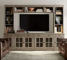 Livingston Medium Media Suite #potterybarn  I like the color of this wood