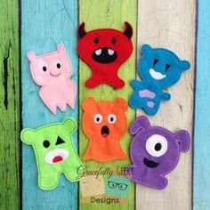 Cute little Monsters Finger Puppet Set Embroidery Design
