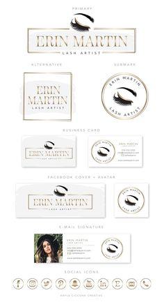 Gold Eyelash Premade Logo Design, Beauty Business Branding, Watercolor Makeup Artist Logo Branding Kit