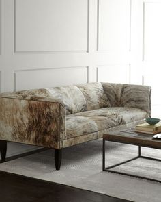 Bryson hairhide leather sofa with nailhead trim