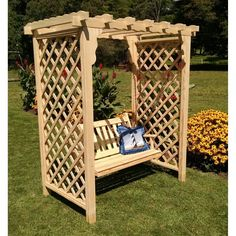 A & L Furniture Covington 7.5 ft. Wood Arbor with Swing