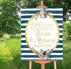 Printable Wedding Sign, Watercolor Sign, Welcome to Our Wedding Sign, Custom sign, Wedding Printables, Navy Blue and Gold,