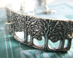 Peace, Fine Silver and Sterling Bracelet, Openwork Trees Bracelet, Handmade Artisan Original by SilverWishes