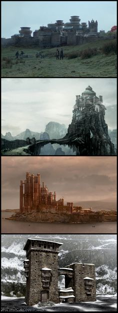Winterfell, The Eyrie, King's Landing and Castle Black