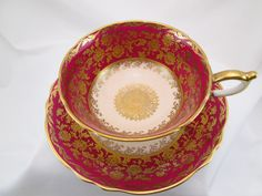 Vintage Paragon Tea Cup and Saucer Red and Gold Scrolls   eBay