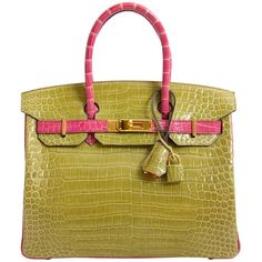 cd8dae200bb Hermès Top Handle Bag - Birkin 30 Crocodile Porosus Ghw Vert Anis / Rose  Sheherazade Crocodile