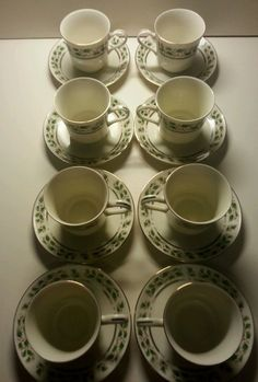 Holly Holiday Cup & Saucer Royal Limited Set 8 Christmas Buffet Cream Red Green