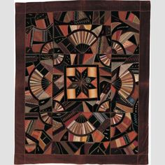 """Center Star Crazy Throw Mary Ann Crocker Hinman (1817–1893) Location: New York Date: 1880–1890 Materials: Silk with silk embroidery Dimensions: 64 × 52 3/4"""""""