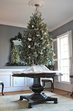 Elevate your Christmas tree, like @lauraischuchart, on her Z Gallerie Maxwell Dining Table ~ May have to this year