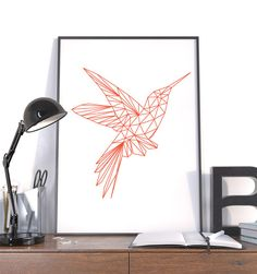 Large Geometric Print, Hummingbird Orange, Instant Download Modern Wall Art