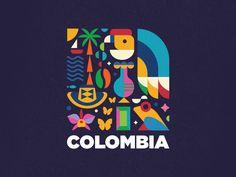 Colombia by Carlos Puentes Destination Branding, City Branding, Logo Branding, Brand Identity Design, Branding Design, Logo Design, Graphic Design Layouts, Graphic Design Inspiration, Turismo Logo