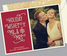 Kleinfeld Paper || Just Married? Holiday cards for Newlyweds || Holiday Wishes design: http://www.kleinfeldpaper.com/shop/Holiday-Cards-Holiday-Wishes-P667_1_145_A02_S01_P01
