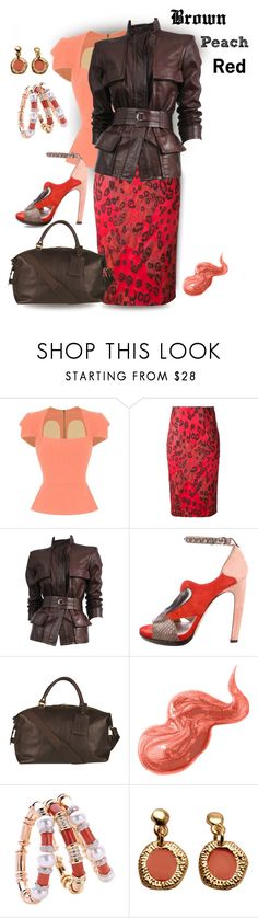 """""""Brown, Peach & Red"""" by sheila1914 ❤ liked on Polyvore featuring Roland Mouret, Manning Cartell, Tom Ford, Reed Krakoff, Barbour and Bobbi Brown Cosmetics"""