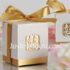 Laser-Cut Double Happiness Favor Box-Gold Satin(set of 12) (050005865)