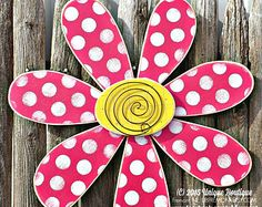BIG 22 inch wood Daisy FLOWER spring Hot PINK Polka Dot Door Hanger Decor Hanging Garden art wooden sign
