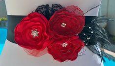Romantisch Rode en zwarte huwelijk Sash door BridalBlingNBowtique