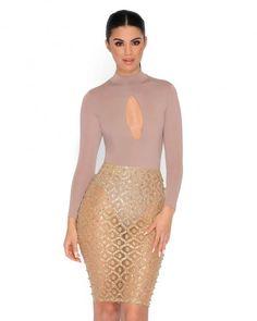 Embellished Midi Skirt In Nude - Thumbnail