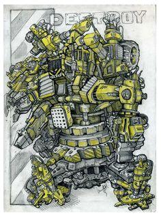 Робот-трансформер из строительной техники.Sketchy.Cyberpunk.Автор Любимов Алексей/Autor Alexei Lubimov