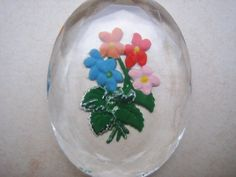 Vintage intaglio cab  flowers  glass crystal reverse by a2zDesigns, $3.50