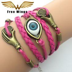 Leather Bracelet Mens Jewellery Fashion Turkey Handmade Infinity Rope Charm Bracelets For Women Bohemian Bangles Dropshipping