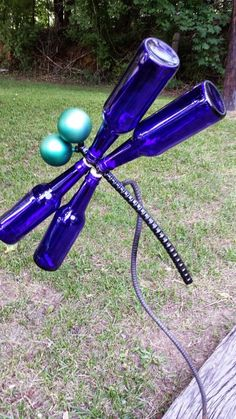Upcycled/Recycled/Repurposed Glass Bottle Garden Art Dragonfly...  Jacqui, want this for your yard? by Kathy Eggler