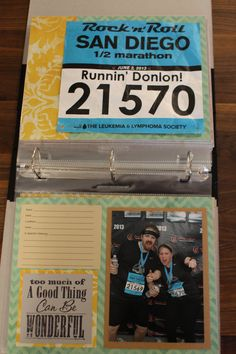 Runner's Bib Scrapbook Album  - Race Memories Collected - Premade Pages on Etsy, $45.00