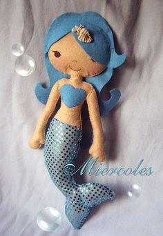 mermaid doll ||| plush, toy, felt, sew