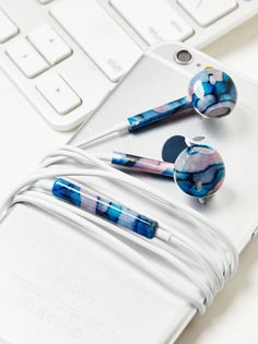 FP Printed Earbuds | Listen to your tunes in style with these super fun printed earbuds. Remote on the cord allows you to adjust the volume easily and also start and stop what you are listening to.