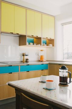 Yellow Retro Kitchen Table and Chairs . Yellow Retro Kitchen Table and Chairs . Retro Yellow and Blue Kitchen Yellow and Blue Plywood Yellow Kitchen Cabinets, Retro Kitchen Tables, Kitchen Cabinets For Sale, 70s Kitchen, Kitchen Cabinet Styles, Kitchen Yellow, Retro Kitchens, Yellow Kitchens, Retro Table