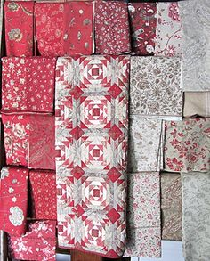 french general - pretty colors for a pineapple quilt Star Quilts, Quilt Blocks, Mini Quilts, Pineapple Quilt Pattern, Pineapple Quilt Block, French General Fabric, Two Color Quilts, Red And White Quilts, Log Cabin Quilts