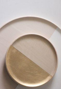 """wood gold leaf tray 8"""""""