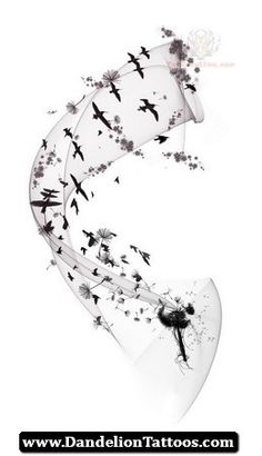 Infinity Dandelion Tattoo 05 - http://dandeliontattoos.com/infinity-dandelion-tattoo-05/