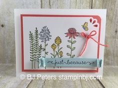 handmade card: Flowering Fields ... meadow flowers ... luv the punched corner ... Stampin' Up!