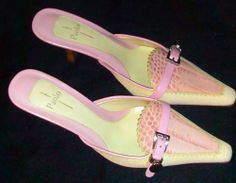 ~~~ LINEA PAOLA Shoes- New! - Cream and Pink Pumps with  Wooden Heel. Sz 6 M ~~~