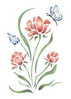 Quickly and easily create a country ambience in your bedroom, livingroom and more with our Tulip Dance Painting Stencil! Stencil Painting, Fabric Painting, Watercolor Paintings, Easy Flower Painting, Flower Art, Stencil Patterns, Stencil Designs, 3d Quilling, Arte Popular