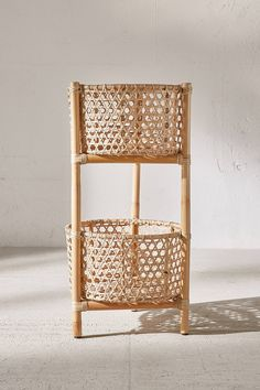 Slide View: 2: Rattan Two Tier Stand