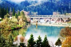 Beautiful Day Looking Over Winchester Dam From Umpqua Community College Towards Historic Winchester Bridge (Built In 1923).  Photo by Pandora Snyder.  #pandoras_photo_box #winchesterdam #historicbridge #northumpqua #river #water #umpquacommunitycollege #tree .#trees #fishladder #riverreflection #winchesterbridge #peace #peaceful #calm #mountain #landscape #dam  #pacificnorthwest #boats #fishing #serene #surreal