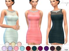 Satin and sheer mesh. Sheer jeweled neckline. V back. Sleeveless. 16 different colors. Custom mesh by me.  Found in TSR Category 'Sims 4 Female Everyday'