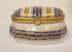 VINTAGE LE TALLEC PARIS FRANCE LIMOGES TRINKET BOX PORCELAIN BLUE / GOLD #Limoges