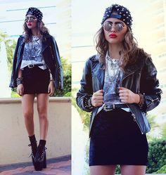 Romwe Studded Cap, Bebe Studded Rose Tee, Toxic Codeine Velvet Bodycon Miniskirt, Unif Hellbounds